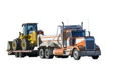Caminhão e carregador de descarga da extremidade isolados Imagem de Stock