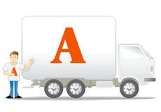 Caminhão e homem pequenos ilustração do vetor
