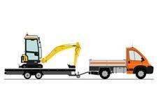 Caminhão e máquina escavadora Fotos de Stock Royalty Free