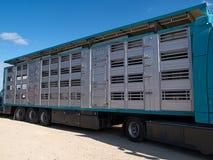 Caminhão e reboque especiais para o transporte dos porcos Imagem de Stock Royalty Free