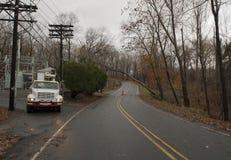 Caminhão elétrico que espera para trabalhar. Hurricame Sandy. Imagens de Stock Royalty Free