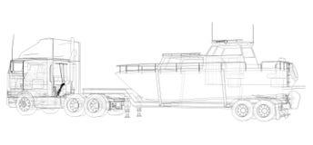 Caminhão grande com um reboque para transportar um barco em um fundo branco rendição 3d ilustração stock
