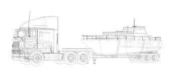 Caminhão grande com um reboque para transportar um barco em um fundo branco rendição 3d ilustração do vetor