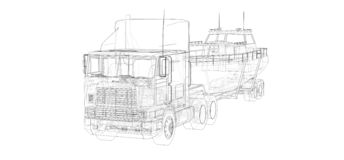 Caminhão grande com um reboque para transportar um barco em um fundo branco rendição 3d ilustração royalty free