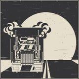 Caminhão grande no cartaz velho da estrada ilustração do vetor