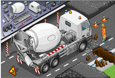 Caminhão isométrico do misturador de cimento na vista traseira ilustração royalty free