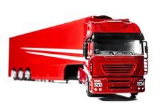 Caminhão modelo com o reboque do isolado no fundo branco Fotos de Stock Royalty Free