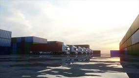 Caminhão no depósito do recipiente, armazém, porto Recipientes de carga Conceito logístico e do negócio Animação 4K realística ilustração do vetor