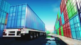 Caminhão no depósito do recipiente, armazém, porto Recipientes de carga Conceito logístico e do negócio Animação 4K realística ilustração royalty free
