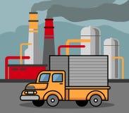 Caminhão que passa pela fábrica Imagem de Stock