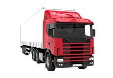 Caminhão vermelho e branco isolado em um fundo branco Foto de Stock Royalty Free
