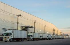 Caminhões brancos estacionados Foto de Stock