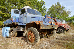 Caminhões de corrosão históricos Praga V3S imagem de stock royalty free