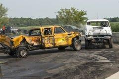 Caminhões destruídos na ação Imagens de Stock