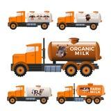 Caminhões do depósito de leite ilustração royalty free