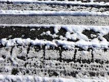 Caminhões do pneu na neve Imagem de Stock Royalty Free