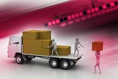 Caminhões do transporte na entrega do frete Fotos de Stock