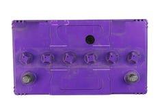 Caminh?o grande da bateria, bateria de carro, lado superior da bateria, isolado no fundo preto imagens de stock