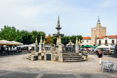 Caminha, Moledo, Viana do Castelo, Spain. A typical Portuguese square with terraces and visitors who come to drink their cup of coffee in the morning Stock Photo