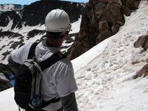Caminhada alpina - pico do granito Fotografia de Stock Royalty Free