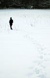 Caminhada através da neve Fotografia de Stock Royalty Free