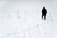 Caminhada através da neve Fotos de Stock Royalty Free