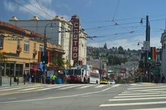 Caminhada através das ruas da vizinhança de San Francisco We Find The Castro Feriados Arquitecture do curso imagens de stock