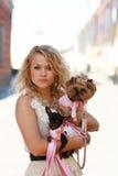 Caminhada com cães Imagens de Stock Royalty Free