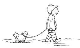 Caminhada com o amigo pequeno preto e branco Fotografia de Stock