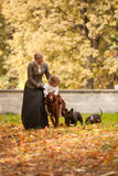 Caminhada curta com cães Imagens de Stock