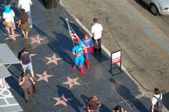 Caminhada da fama: Superman e capitão América imagem de stock royalty free