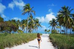 Caminhada da menina na praia ensolarada do parque de Crandon de Key Biscayne imagem de stock