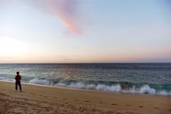 Caminhada do poder da manhã na praia imagens de stock royalty free