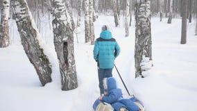 Caminhada de duas crianças no parque do inverno Montada em um trenó Atividades exteriores e passeio video estoque