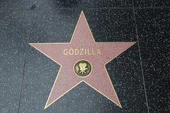 Caminhada de Hollywood da fama - Godzilla fotografia de stock