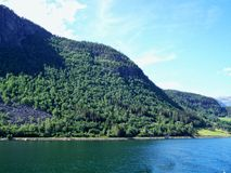 Caminhada de natureza nas madeiras, a água do fiorde, fundo do dia ensolarado fotos de stock royalty free