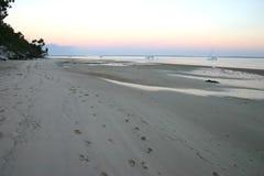 Caminhada do amanhecer na praia foto de stock
