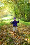 Caminhada do bebê do outono fotos de stock