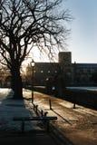 Caminhada do beira-rio em Haddington na manhã dos invernos fotografia de stock