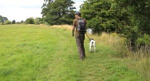 Caminhada do cão no campo Fotografia de Stock