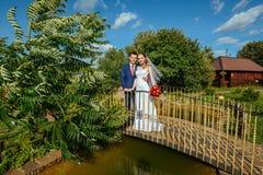 Caminhada do casamento na ponte Fotografia de Stock Royalty Free