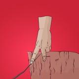 Caminhada do dedo no vetor do penhasco da corda Fotografia de Stock Royalty Free