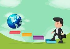 A caminhada do homem de negócio vai vetor do sucesso do mundo Imagens de Stock Royalty Free