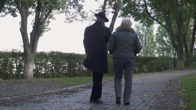 Caminhada do homem superior e da mulher no parque filme