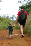 Caminhada do pai e do filho Fotografia de Stock