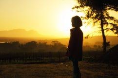 Caminhada do por do sol Fotos de Stock