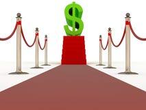 Caminhada do tapete vermelho com etapas ao sinal do dólar Imagens de Stock Royalty Free
