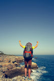 Caminhada do verão ao longo da costa fotografia de stock
