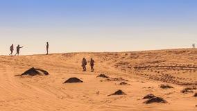 Caminhada dos povos ao longo das dunas de areia brancas na skyline filme