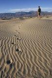 Caminhada em dunas de Death Valley Fotografia de Stock